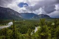 Bow valley near Banff in the Canadian rockies. Alberta royalty free stock images