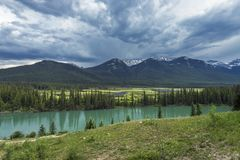 Bow Valley Parkway in Banff National Park British Columbia Stock Photos