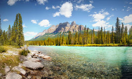 Bow Valley Parkway, Bow River, Castle Mountain, Royalty Free Stock Photo