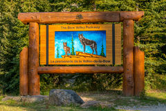 Bow Valley Parkway sign Banff National Park Stock Images