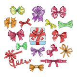 Bow vector bowknot or ribbon for decorating gifts on Christmas or Birtrhday illustration set of girlish bowed tie or. Ribboned presents on holidays celebration Royalty Free Stock Images