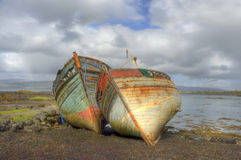 Bow view of abandoned fishing Boats Royalty Free Stock Photo