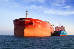 Bow View Of Bulk Carrier Ship Leonid Loza Anchored In Algeciras Bay In Spain. Stock Photography