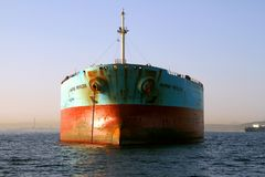 Bow View Of Bulk Carrier Ship Maersk Privilege Anchored In Algeciras Bay In Spain. Royalty Free Stock Photos