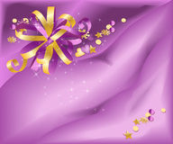 Bow and violet fabric. Violet and golden bow on light violet silk glossy background Stock Photos