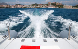 Bow wave of fast motor boat departures port of Ajaccio Stock Image