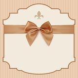 Bow Wedding Invitation Card .Vintage greeting card Royalty Free Stock Photo