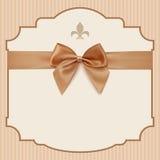 Bow Wedding Invitation Card .Vintage greeting card Royalty Free Stock Photo