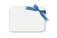Bow on a White Blank Gift Card Royalty Free Stock Photos