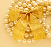 Bow on white pearl Stock Images
