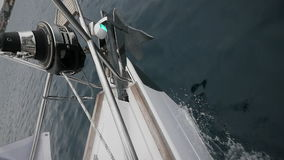 Bow of white ship breaks of waves . Top view. stock video footage