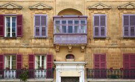 Bow window colored Maltese a palace in Mdina. The city of silence Royalty Free Stock Image