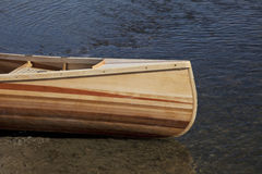 Bow of wooden canoe Royalty Free Stock Images