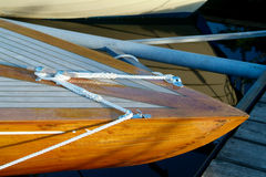 Bow of wooden sailboat. Bow of classic, wooden sailboat in a yacht harbour Royalty Free Stock Photos