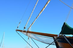 Bow of wooden sailing boat Stock Photography