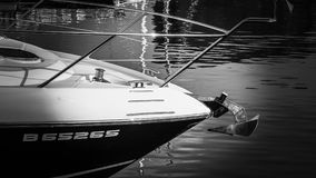 Bow of a yacht Stock Images