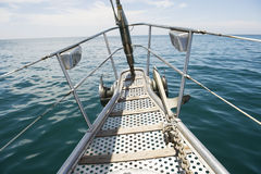 Bow of yacht sailing in sea Royalty Free Stock Photos