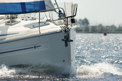 Bow of a yacht under sail Stock Photography