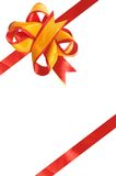 Bow for your gift. Beautiful bow from a red and yellow band Stock Photography
