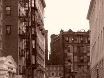Bowdoin Straße in Boston, das in Richtung der Leuchtfeuerstraße blickt lizenzfreies stockbild