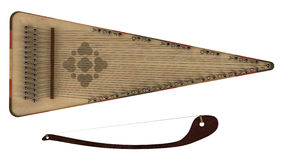 Bowed psaltery. Isolated on white background Stock Photos