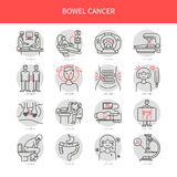 Bowel cancer line icons Stock Photography