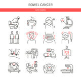 Bowel cancer linear icons Stock Images