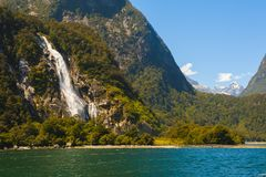 Bowen Falls in Milford Sound Stock Photo