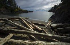 Bowen Island Long Exposure Mountains. Driftwood along Cates Beach, Bowen Island, BC, Canada Stock Photos