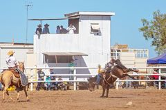 Free BOWEN RIVER, QUEENSLAND, AUSTRALIA - JUNE 10TH 2018: Cowboy Competing In The Bareback Bronc Event At Bowen River Country Rodeo Royalty Free Stock Image - 142032136