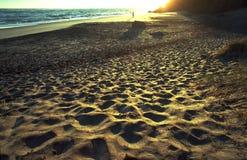 Bowentown Beach walker. Lone figure walks the beach at sunrise. Eastcoast of New Zealand on a popular beach in the summer morning with footprint shadows Stock Photos