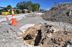 Bower-Alleen-Verflüssigung, Christchurch-Erdbeben Lizenzfreie Stockfotografie