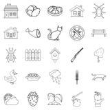 Bower icons set, outline style. Bower icons set. Outline set of 25 bower vector icons for web isolated on white background Stock Photos
