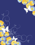 Bowers and Flutterbys. Colorful spring inspired background with pansies and butterflies Royalty Free Stock Photography