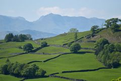 Bowfell above Troutbeck Valley Stock Photo
