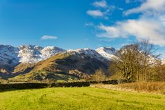 Bowfell and The Band, as seen from the head of Langdale. Royalty Free Stock Image