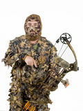 Bowhunter. In full camouflage to allow him to get closer to game, over a white background Stock Image