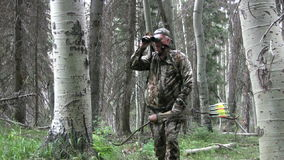 Bowhunter in Aspen Grove Royalty Free Stock Photos