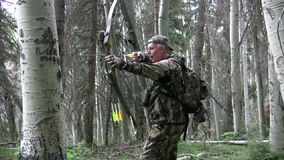 Bowhunter Drawing Bow Stock Image