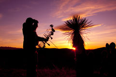 Bowhunter Glassing in Sunset Stock Images