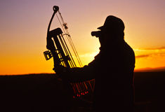 Bowhunter in Sunset Stock Photography