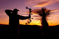Bowhunter in Sunset Royalty Free Stock Image