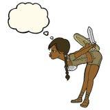bowing девушки Викинга шаржа с пузырем мысли Стоковые Фотографии RF