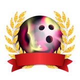 Bowing Award Vector. Sport Banner Background. Ball, Red Ribbon, Laurel Wreath. 3D Realistic Isolated Illustration. Bowing Award Vector. Sport Banner Background Royalty Free Stock Image
