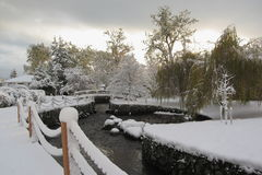 Bowker Creek in Oak Bay after Heavy Snowstorm, Victoria, Vancouver Island Royalty Free Stock Photo