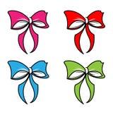 Bowknot eller band för pilbågevektortecknad film för att dekorera gåvor på uppsättning för jul- eller Birtrhday partiillustration arkivfoto