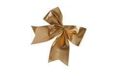 bowknot złota odosobniony biel Zdjęcie Royalty Free