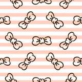 Bowknots på randig vit sömlös vektormodell för rosa färger och stock illustrationer