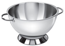 Bowl. 3D illustration of a stainless steel bowl Stock Images