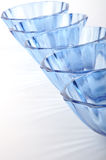 Bowl. Five empty glasses in the row Stock Photo
